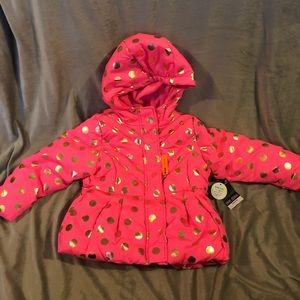 NWT $74 Okie Dokie Pink Polkadot Puffer Jacket 2T